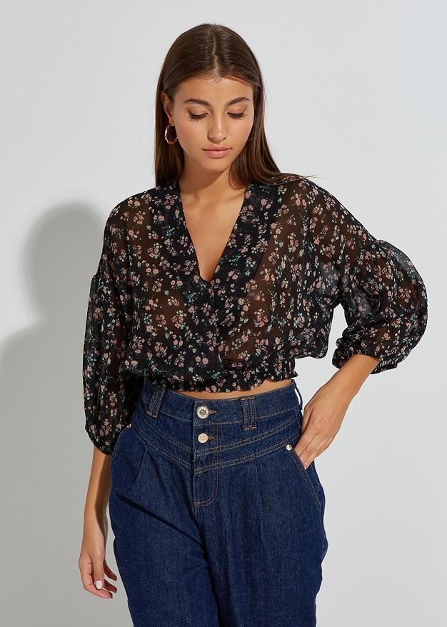 Флорална скъсена блуза