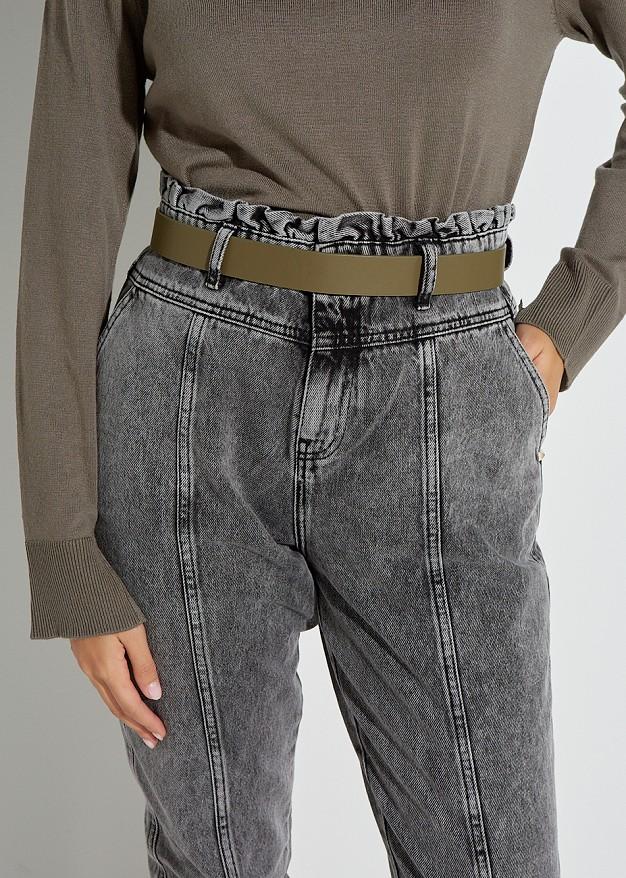 Metallic look elastic waist belt