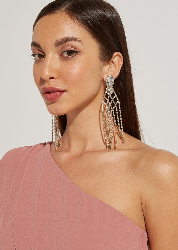 Hanging earrings with stras