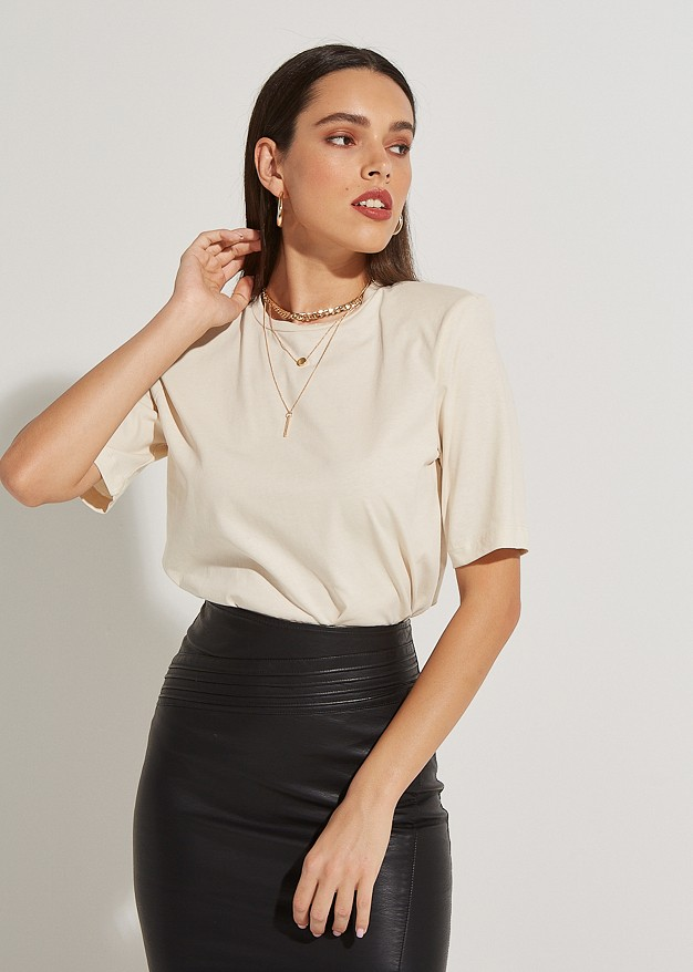 Blouse with shoulder pads
