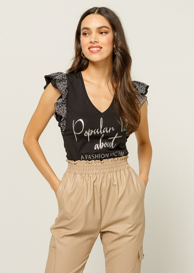 """Blouse with print """"popular lies"""""""