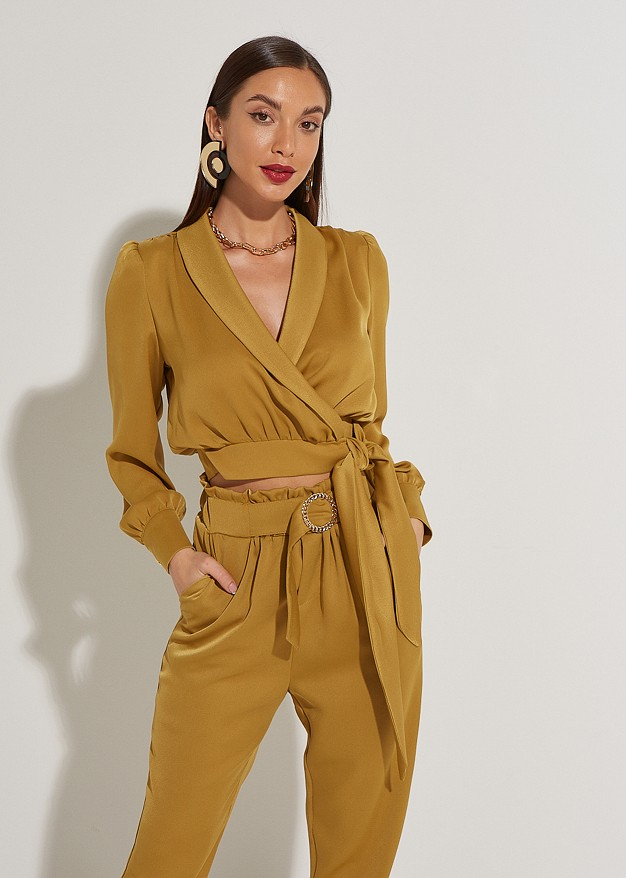 Wrap blouse with belt