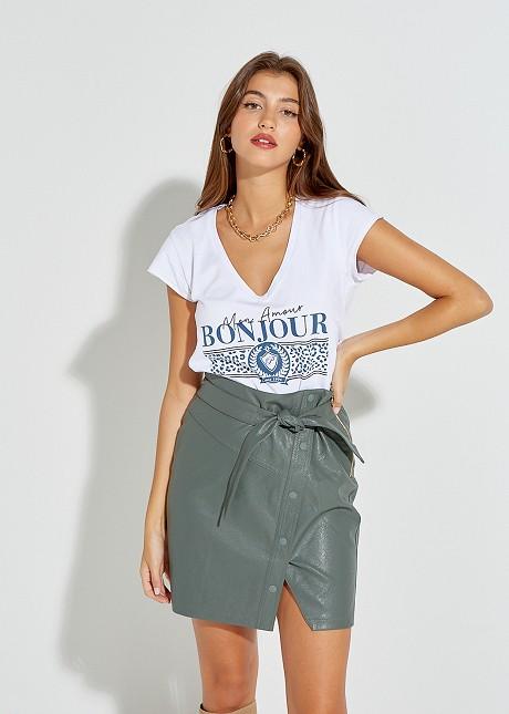 """Блуза с щампа """"Bonjour"""""""