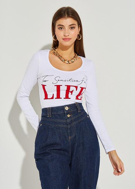 """Блуза с принт """"Life"""""""