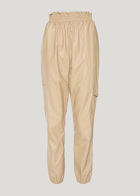 Leather look cargo trousers