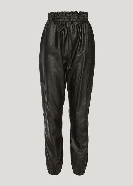 Карго кожен панталон