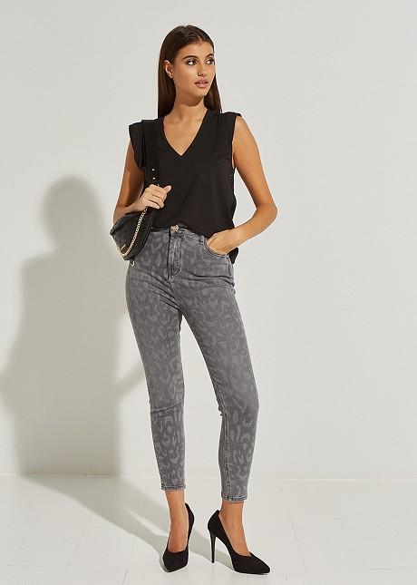 Denim animal print trousers Amber