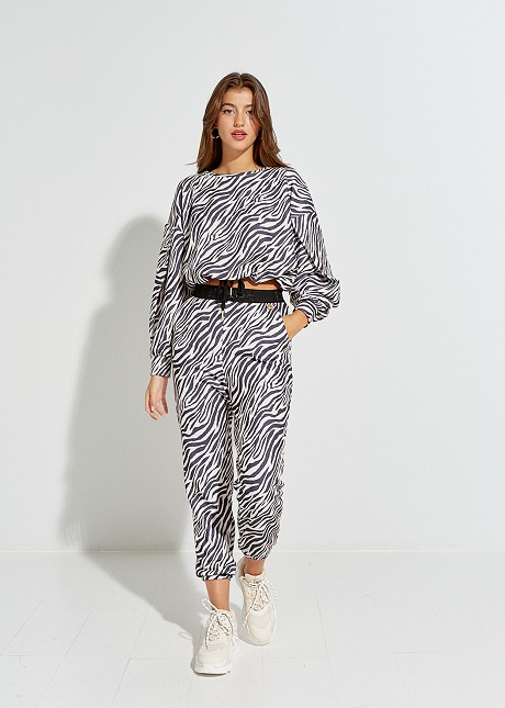 Джогър панталон със зебров принт