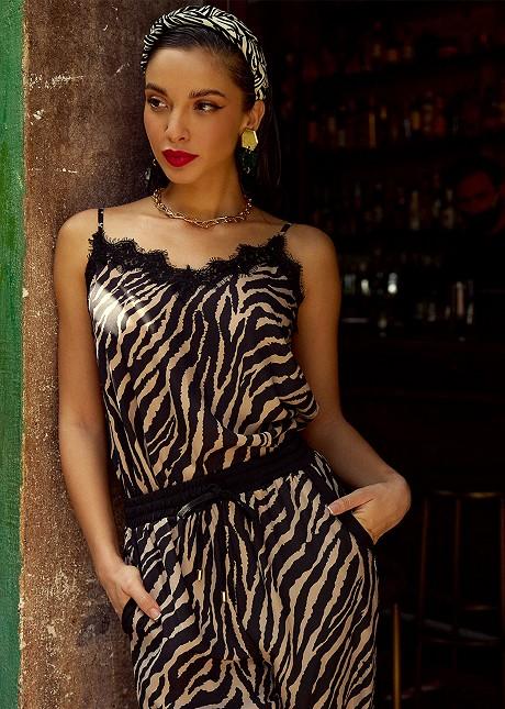 Zebra print lingerie top