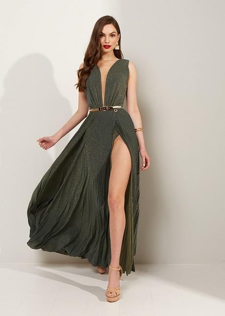 Sleeveless lurex pleated dress
