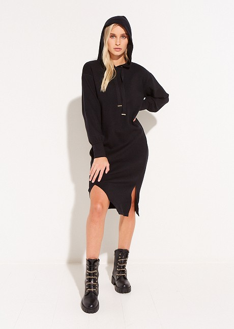 Knitted hooded dress