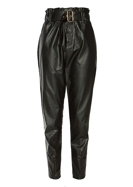 Leather look παντελόνι με ζώνη