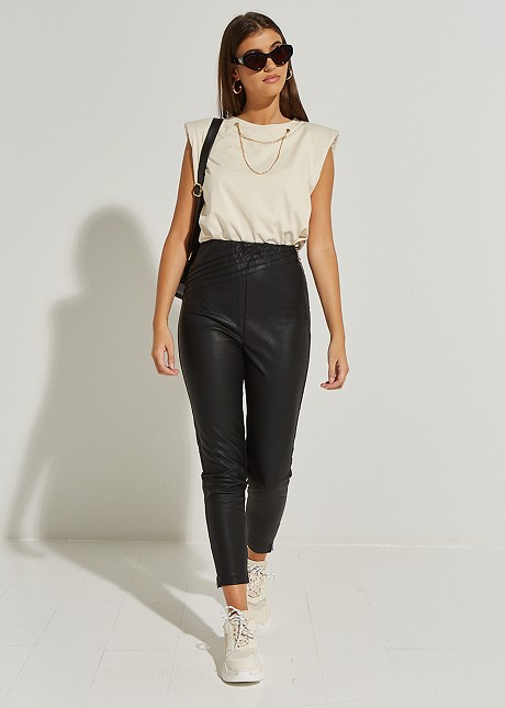 Baggy leather look trousers