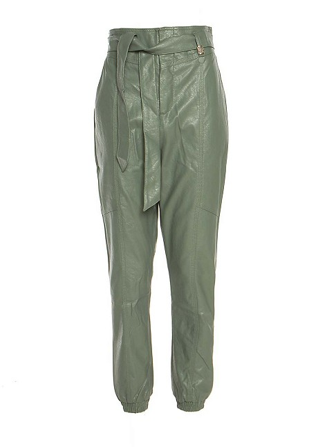 Leather look paper bag trousers