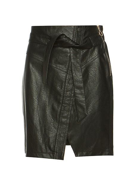 Leather look φούστα με ζώνη