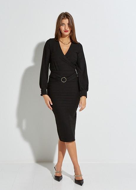 Midi skirt with buckle