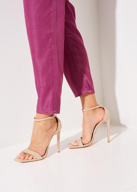 Suede high heel sandals