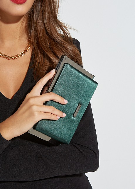Square clutch bag with satin look
