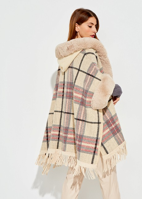 Checked cape with faux fur