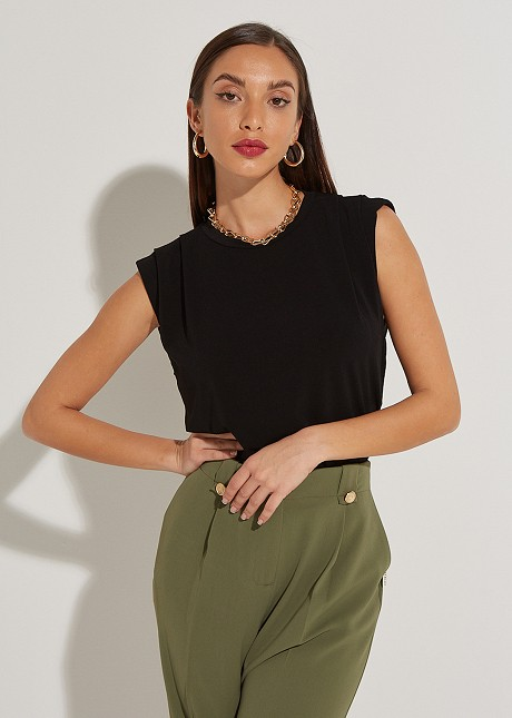 Blouse with pleated shoulder