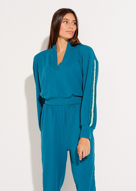 Blouse with lurex detail on the sleeves