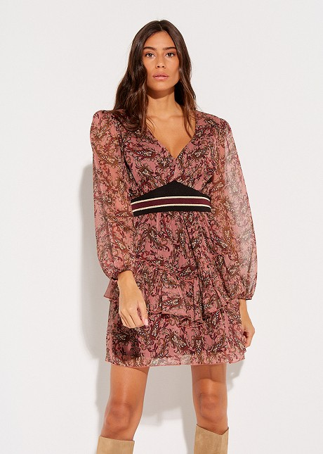 Floral dress with rib detail