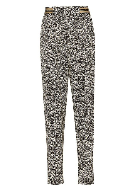 Animal print trousers with side strip