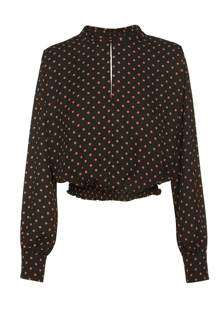 Polka blouse with shoulders pads