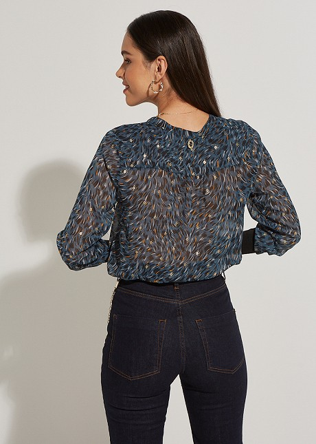Blouse with mao lapel