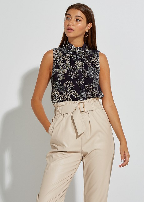Turtle neck blouse with floral print