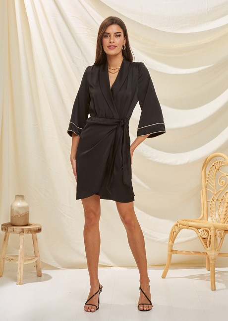 Wrap satin dress