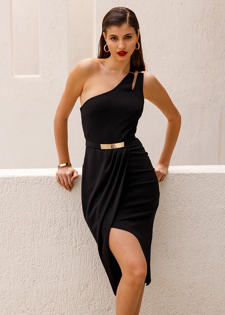 Wrap dress with one shoulder