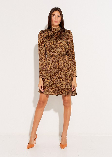 Animal print turtleneck dress