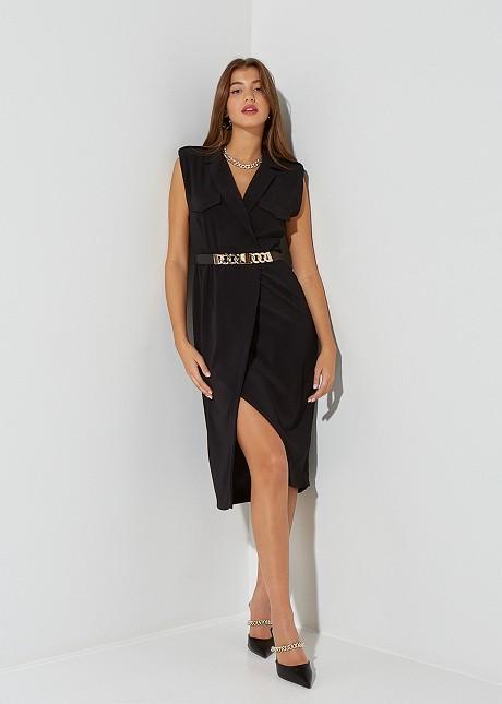 Midi dress with lapel