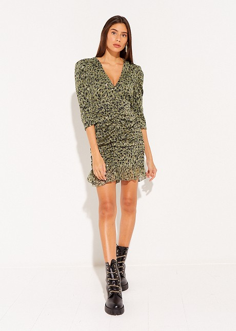 Animal print dress with frill