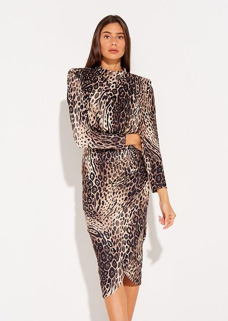 Animal print draped dress
