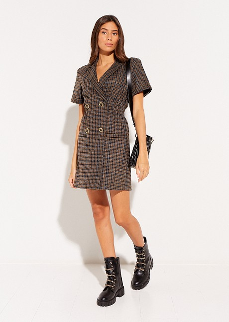 Checked print dress with buttons