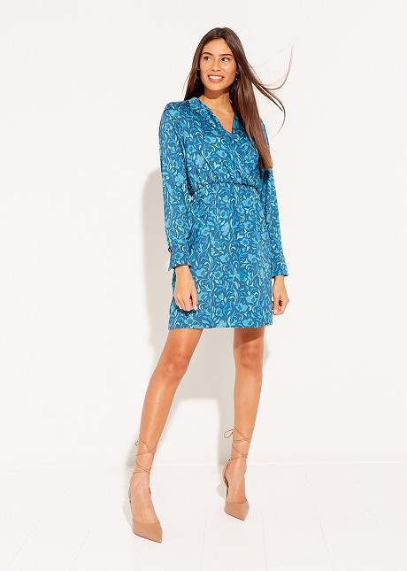 Printed dress with lapel