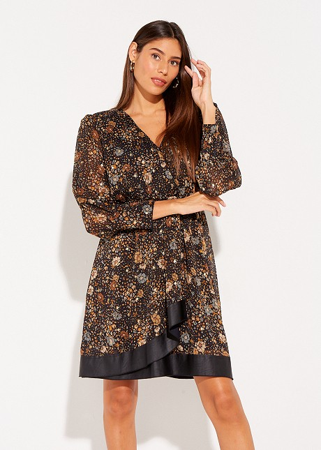 Printed dress with shoulder pads