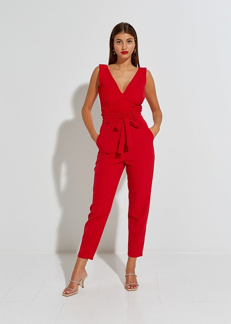 High waist trouser with ruffles and belt