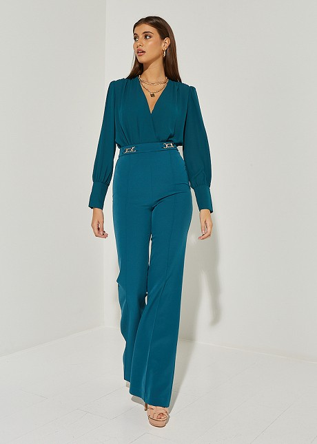 Flared trousers with metallic detail
