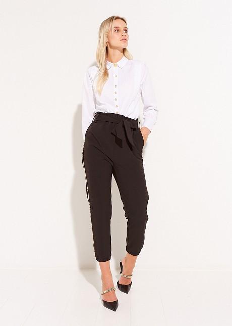 Панталон с висока талия и детайли със змийски принт
