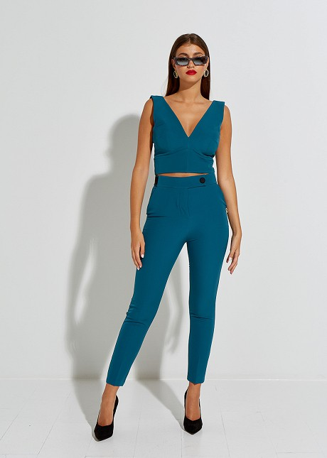 Cigarette trousers with elastic waist band