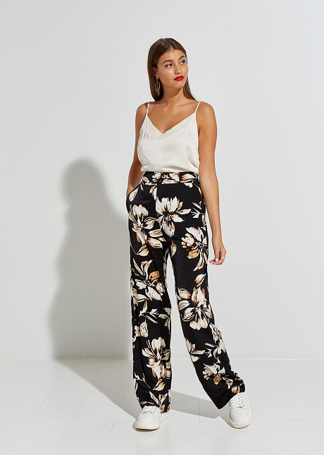 Satin floral trousers