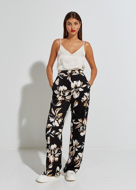 Флорален панталон от сатен