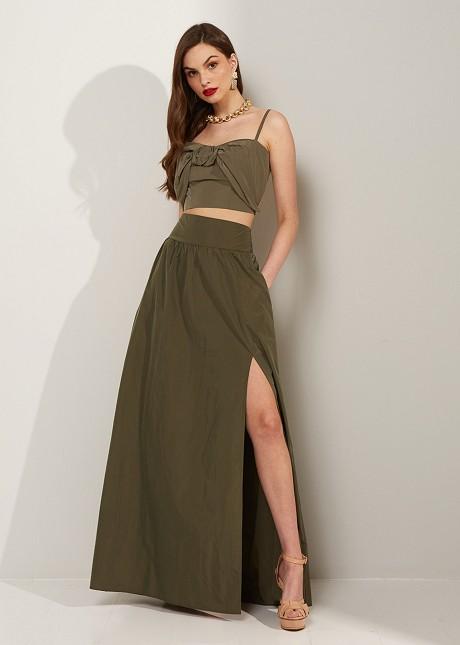 Maxi skirt with ruffles