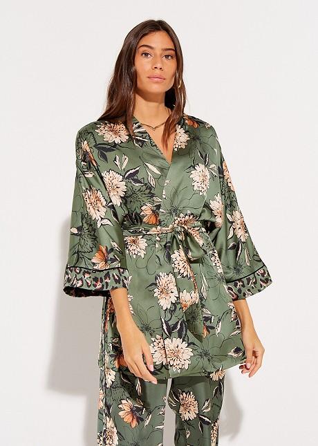 Satin floral cardigan