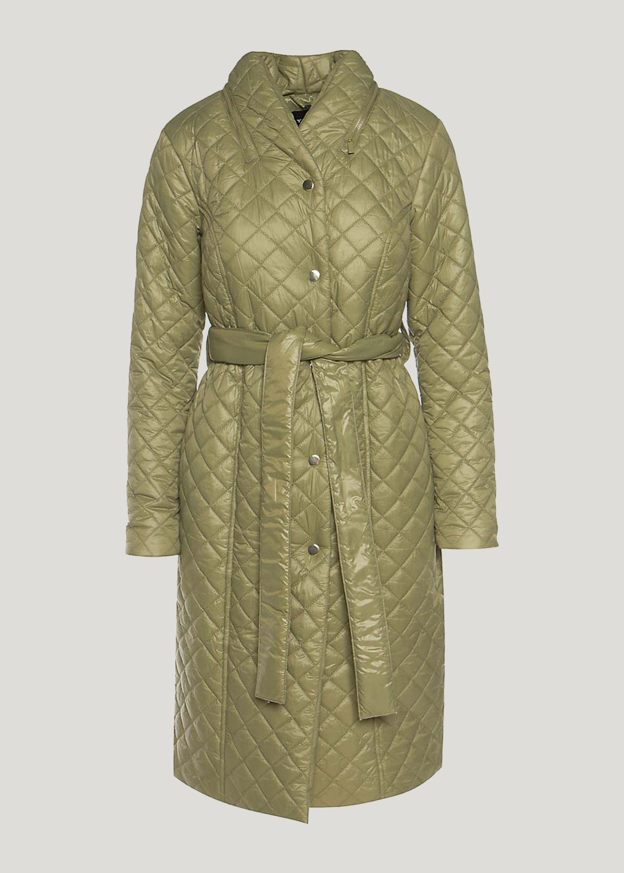 Long quilted trench coat