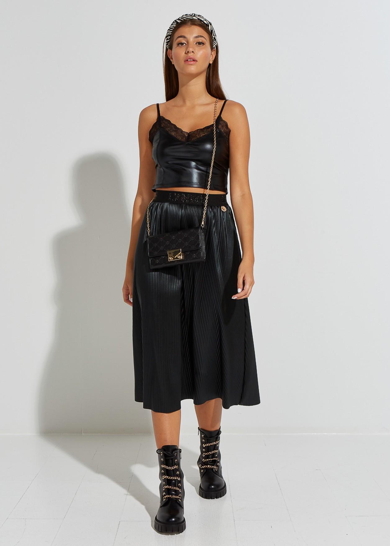 Leather look pleated skirt