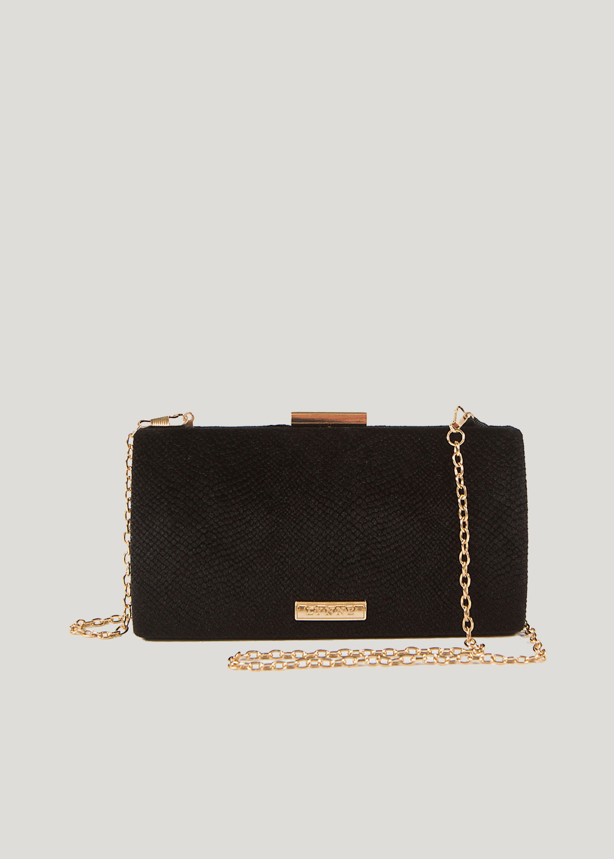 Velvet look clutch bag
